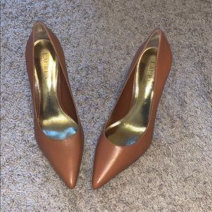 """3"""" Lauren Ralph Lauren tan heels"""